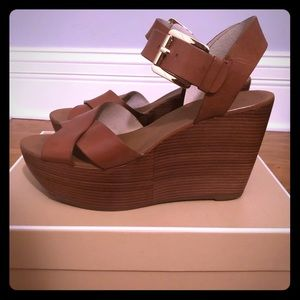 Michael Kors Brown Leather Peggy Wedge Sandal